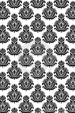 Free Seamless Damask Pattern B/W Stock Images - 16021484