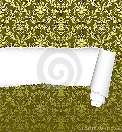 Seamless damask pattern with ripped copy-space