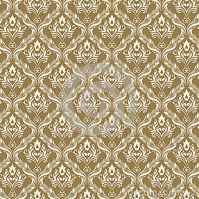 Seamless Damask Wallpaper 3 Beige Color