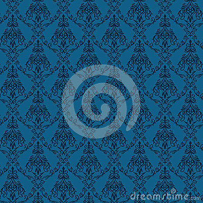 Seamless Damask Wallpaper 4 Blue Color