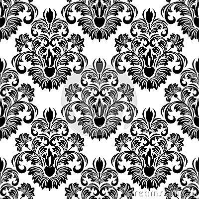 Seamless Damask Wallpaper For Design Black On White