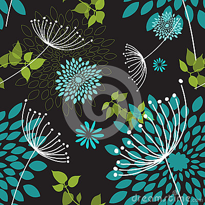 Seamless Dandelions and Flowers Pattern