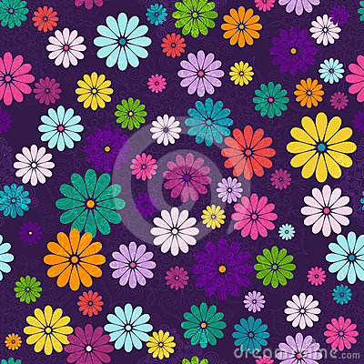 Free Seamless Dark Floral Vivid Pattern Royalty Free Stock Photography - 24288887