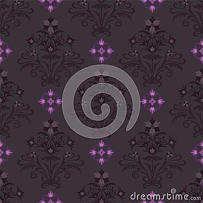 Seamless dark floral wallpaper