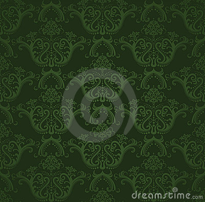 Free Seamless Dark Green Floral Wallpaper Royalty Free Stock Photo - 18150115