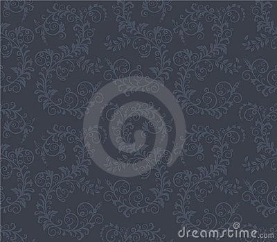 Seamless dark grey floral pattern