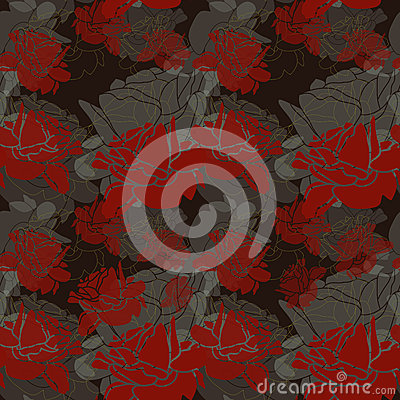 Seamless Dark Red Roses Pattern