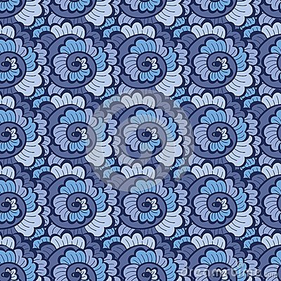 Seamless decorative wavy pattern blue