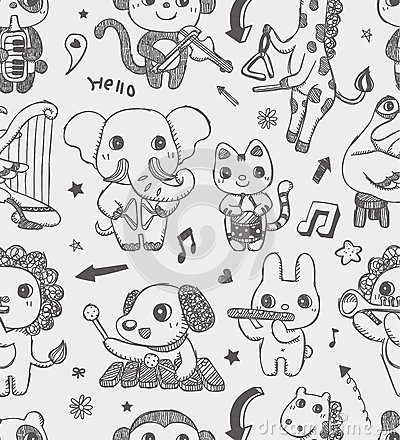Seamless doodle animal music band pattern backgrou