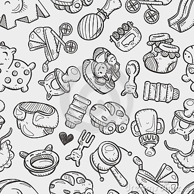 Seamless doodle baby toy pattern