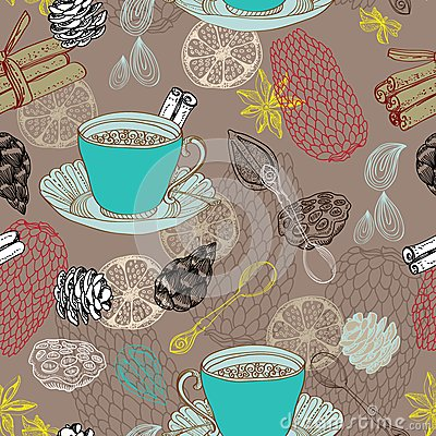 Seamless doodle background with tea