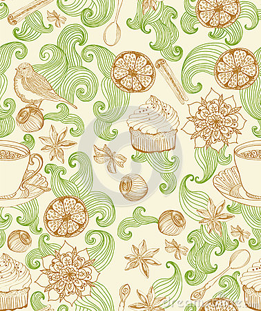 Seamless doodle background for tea time