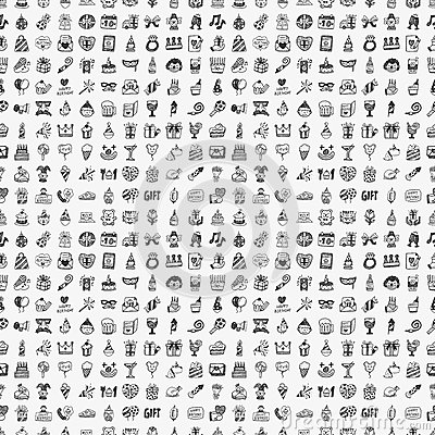Seamless doodle birthday party pattern