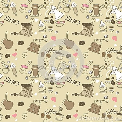 seamless doodle coffee pattern - photo #1