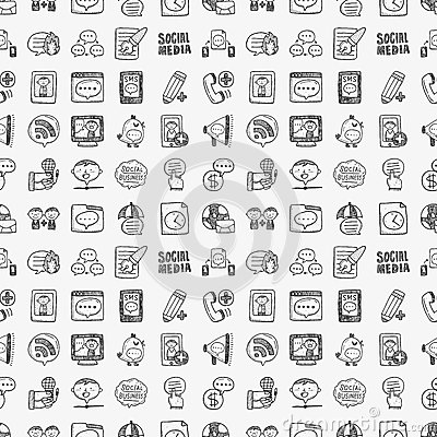 Seamless doodle communication pattern Vector Illustration