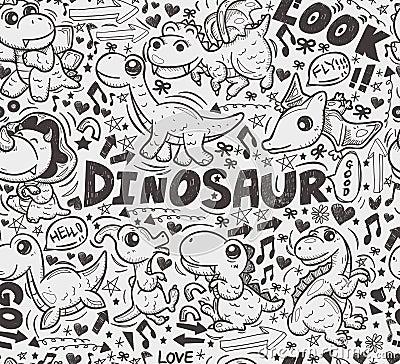 Seamless doodle dinosaur pattern