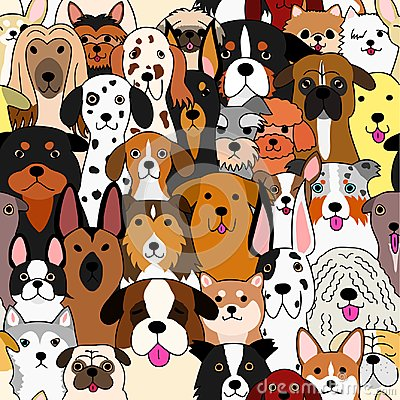 Free Seamless Doodle Dogs Colorful Background Stock Photo - 122074520