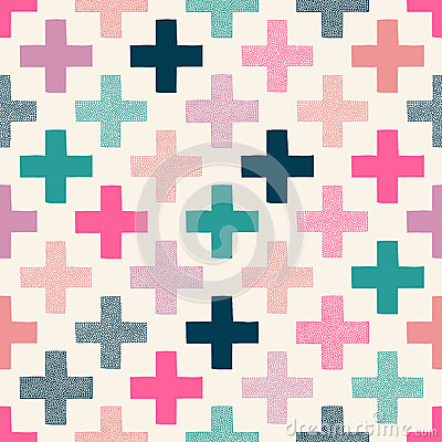 Free Seamless Doodle Dots Cross Pattern Royalty Free Stock Image - 50401946