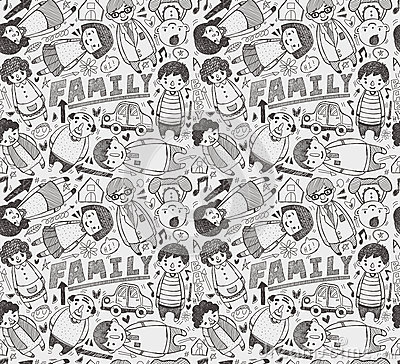 Seamless doodle family pattern