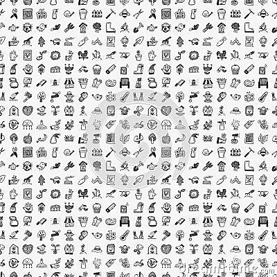 Seamless doodle gardening pattern
