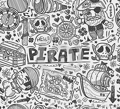 Seamless doodle pirate pattern