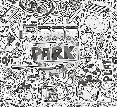 Seamless doodle playground pattern