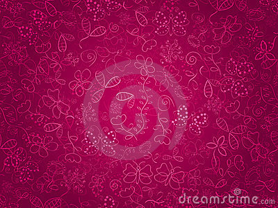 Seamless doodle texture with flowers