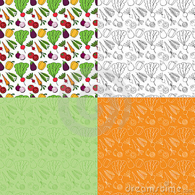 Seamless Doodle Vegetable Pattern