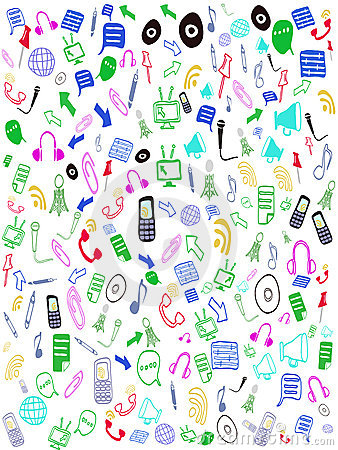 Seamless doodle web icons