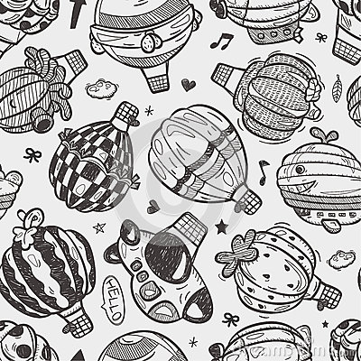 Seamless doodlehot air balloon  pattern