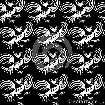 Seamless dragon-bird pattern