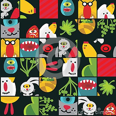 Seamless Easter background with monsters.