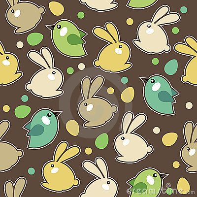 Seamless easter pattern with rabbits