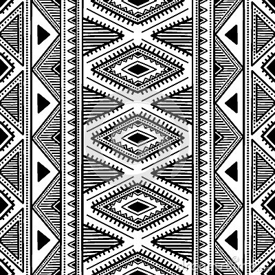 Seamless ethnic pattern. Black and white vector illustration. Vector Illustration