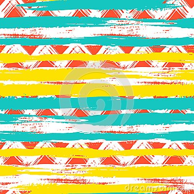 Free Seamless Ethnic Zigzag Pattern With Brushstrokes Royalty Free Stock Images - 39813449