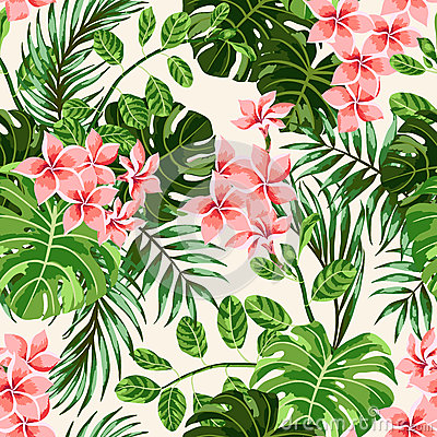 Seamless exotic pattern with tropical leaves and flowers. Vector Illustration