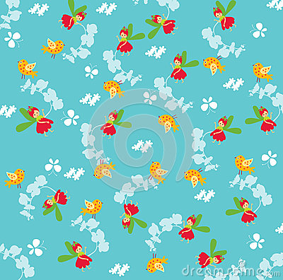 Seamless fairy pattern
