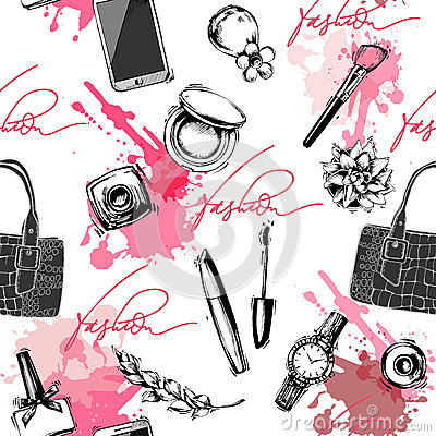 Free Seamless Fashion And Cosmetics Background With Make Up Artist Objects. Vector Illustration Royalty Free Stock Images - 90780099