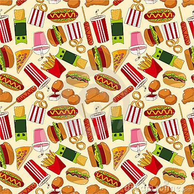 seamless fast food pattern stock photo   image 18293080