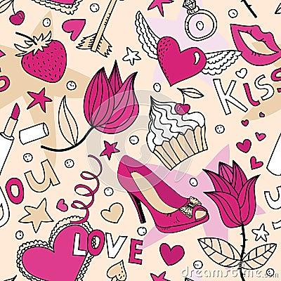 Seamless female love pattern