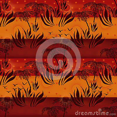 Seamless floral african pattern with plants silhouettes of palms