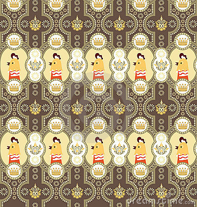Seamless Floral Animals Pattern G