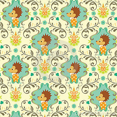 Free Seamless Floral Animals Pattern I Stock Photo - 9159900