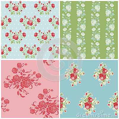 Seamless Floral Background Beautiful Set