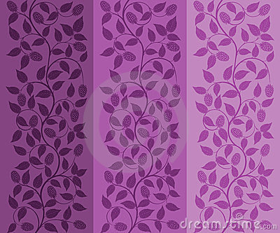 Seamless floral background with a berries