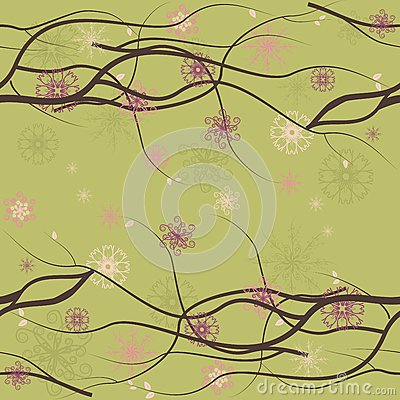 Seamless floral background with branches 1