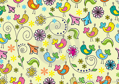 Seamless floral background with cartoon birds