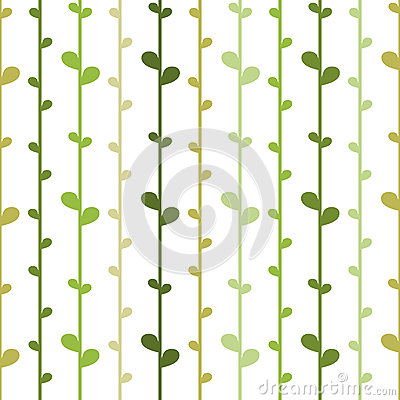 Seamless floral background with green herb strings. Vector Illustration
