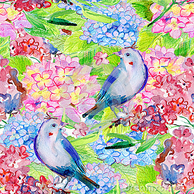 Free Seamless Floral Background With Flowers And Birds. Stock Photography - 54006652