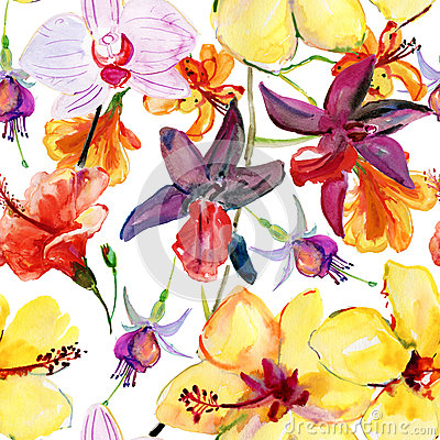 Free Seamless Floral Background With Tropical Flowers And Leaves. Stock Photography - 50520072